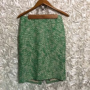 J.Crew No.2 Pencil Skirt Sz 4 Tweed Green White